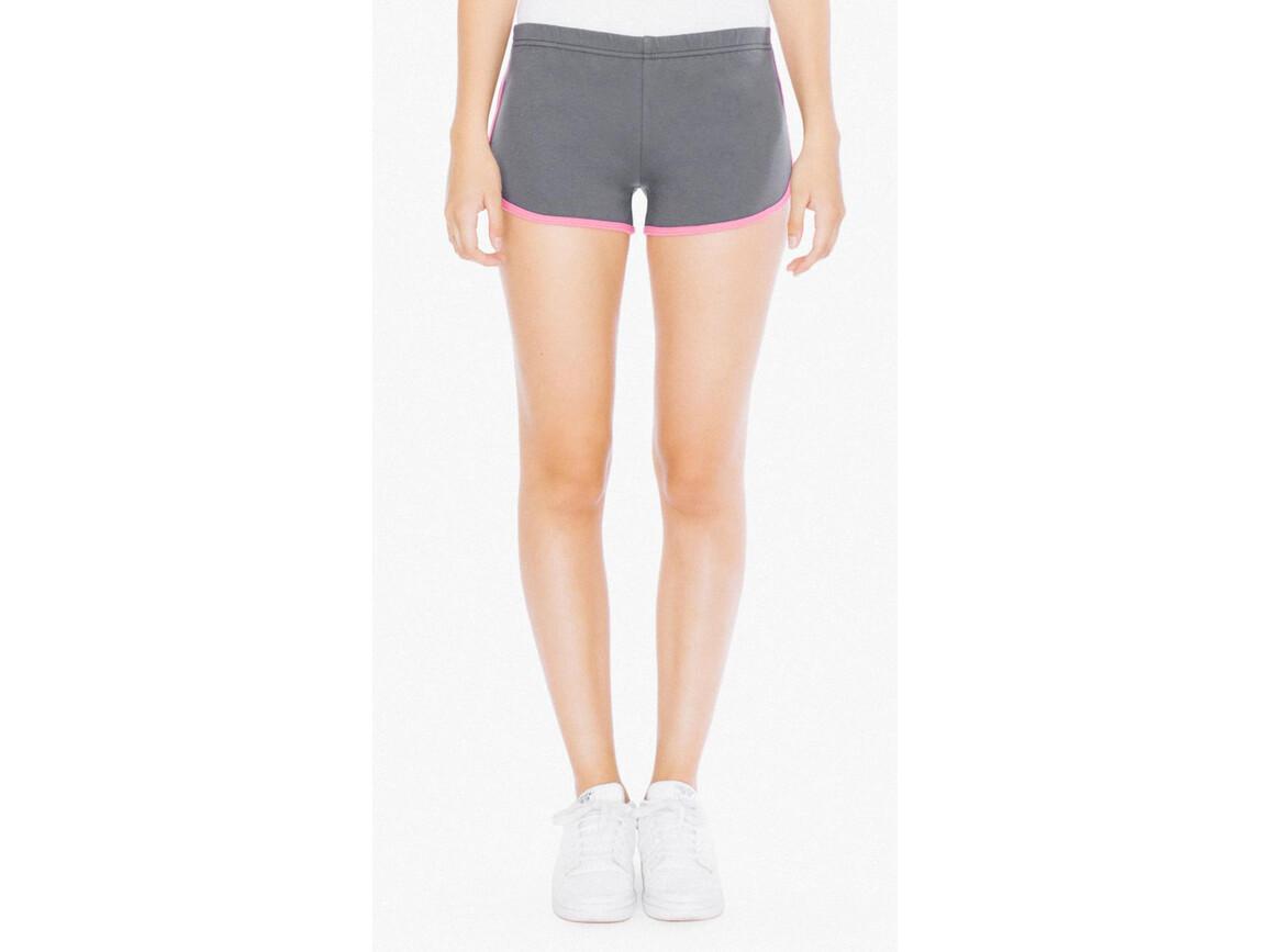 American Apparel Women`s Interlock Running Shorts, Asphalt/Fuchsia, M bedrucken, Art.-Nr. 904071584
