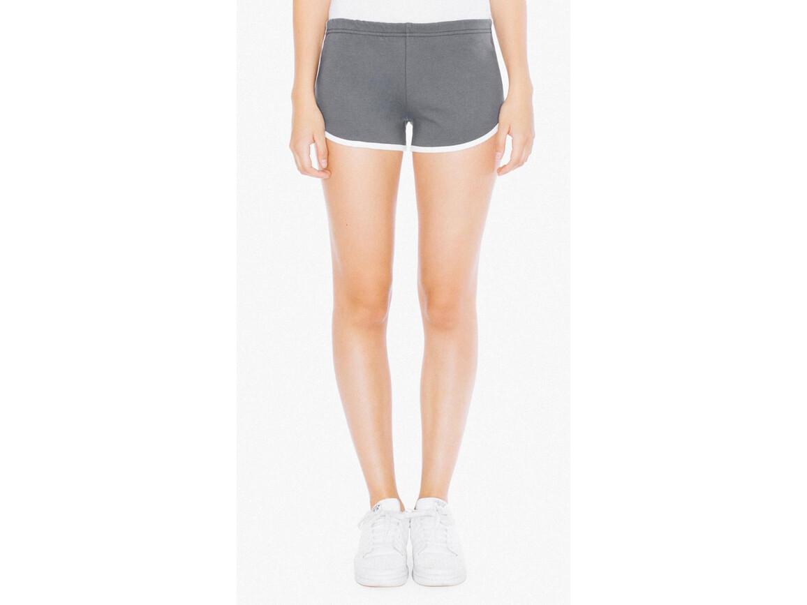 American Apparel Women`s Interlock Running Shorts, Asphalt/White, XL bedrucken, Art.-Nr. 904071596