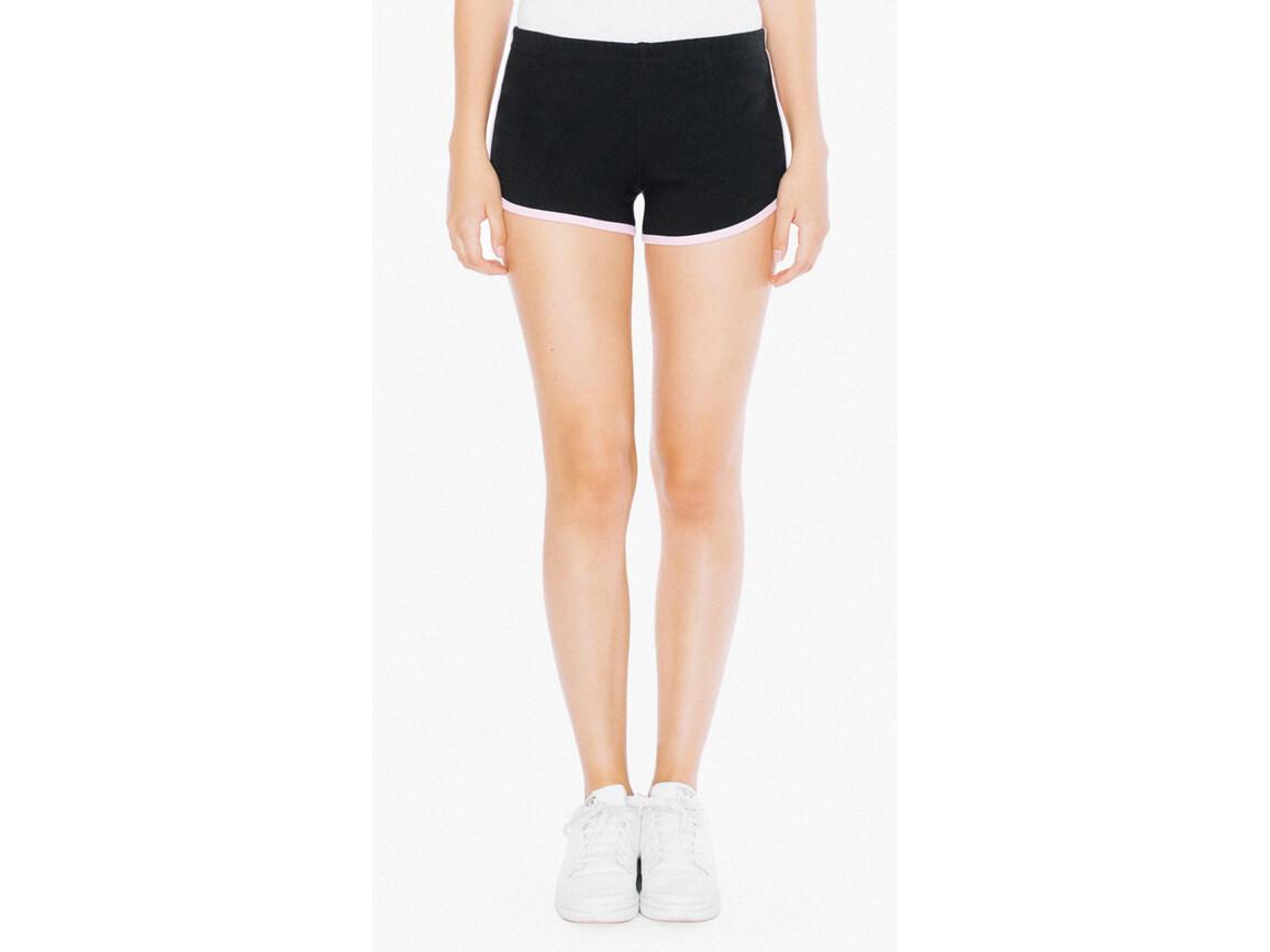 American Apparel Women`s Interlock Running Shorts, Black/Pink, L bedrucken, Art.-Nr. 904071605