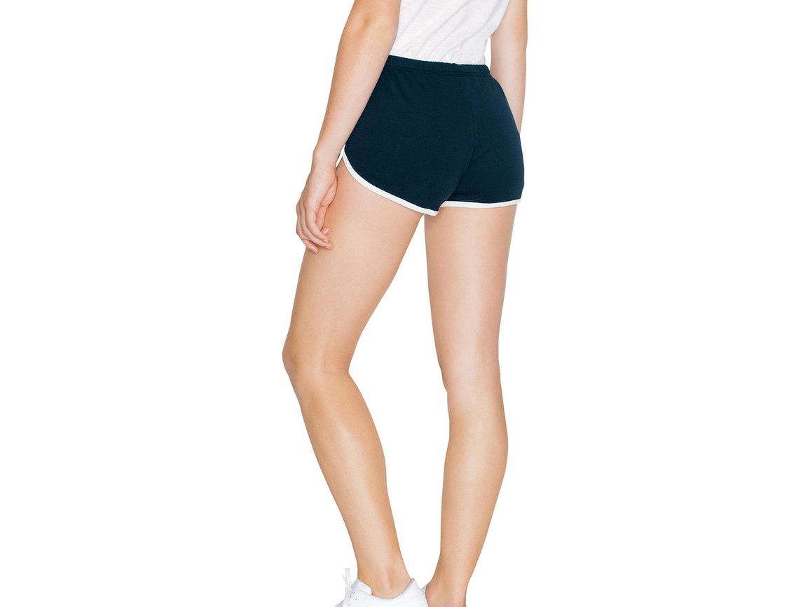 American Apparel Women`s Interlock Running Shorts, Navy/White, M bedrucken, Art.-Nr. 904072524