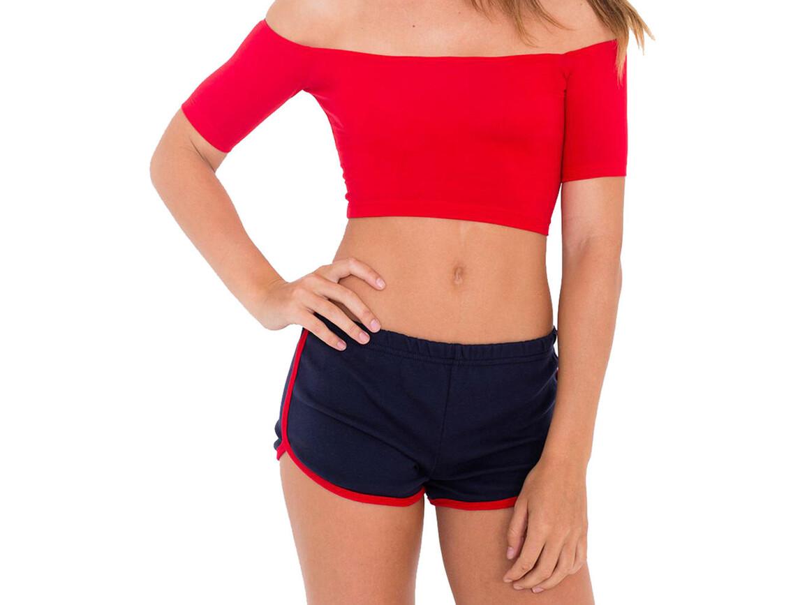 American Apparel Women`s Interlock Running Shorts, Navy/Red, S bedrucken, Art.-Nr. 904072543