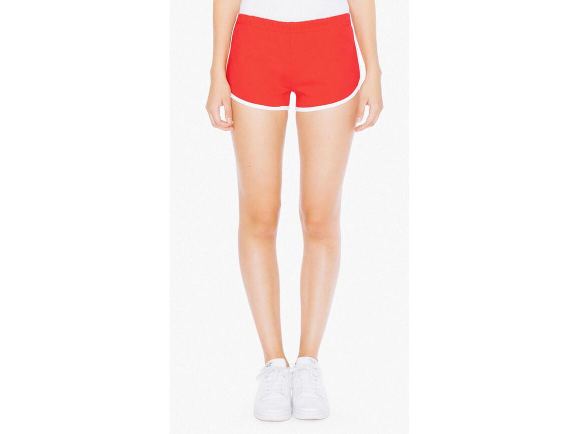 American Apparel Women`s Interlock Running Shorts, Red/White, S bedrucken, Art.-Nr. 904074503