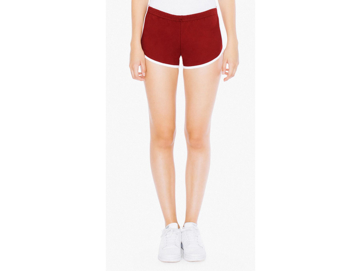 American Apparel Women`s Interlock Running Shorts, Cranberry/White, L bedrucken, Art.-Nr. 904074605