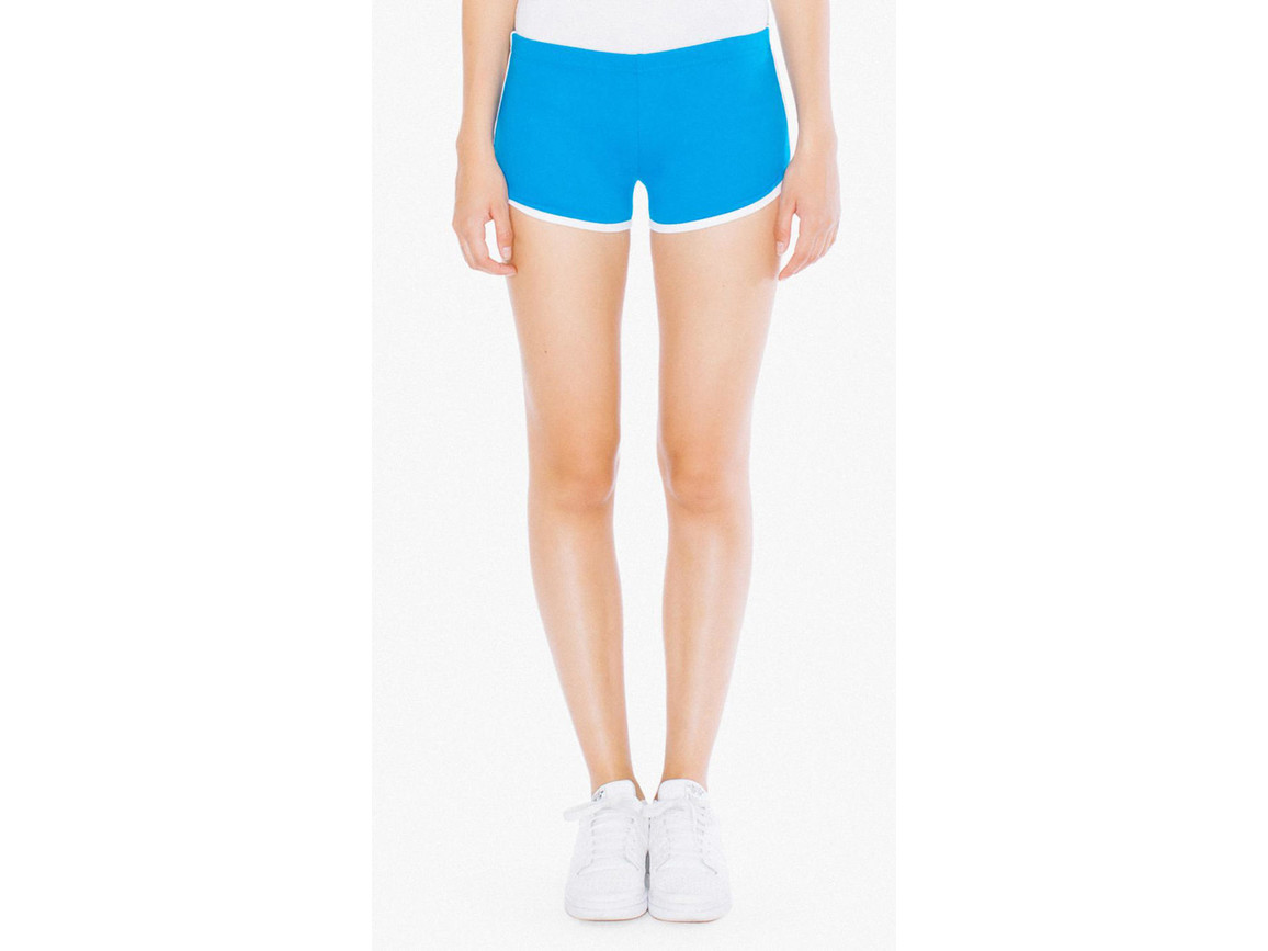 American Apparel Women`s Interlock Running Shorts, Teal/White, L bedrucken, Art.-Nr. 904075535