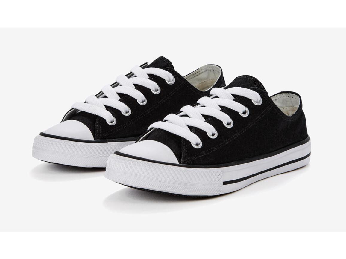 SG Footprints Low Top Printable Canvas Shoe/Junior, Black, 33/UK 1 bedrucken, Art.-Nr. 904531016