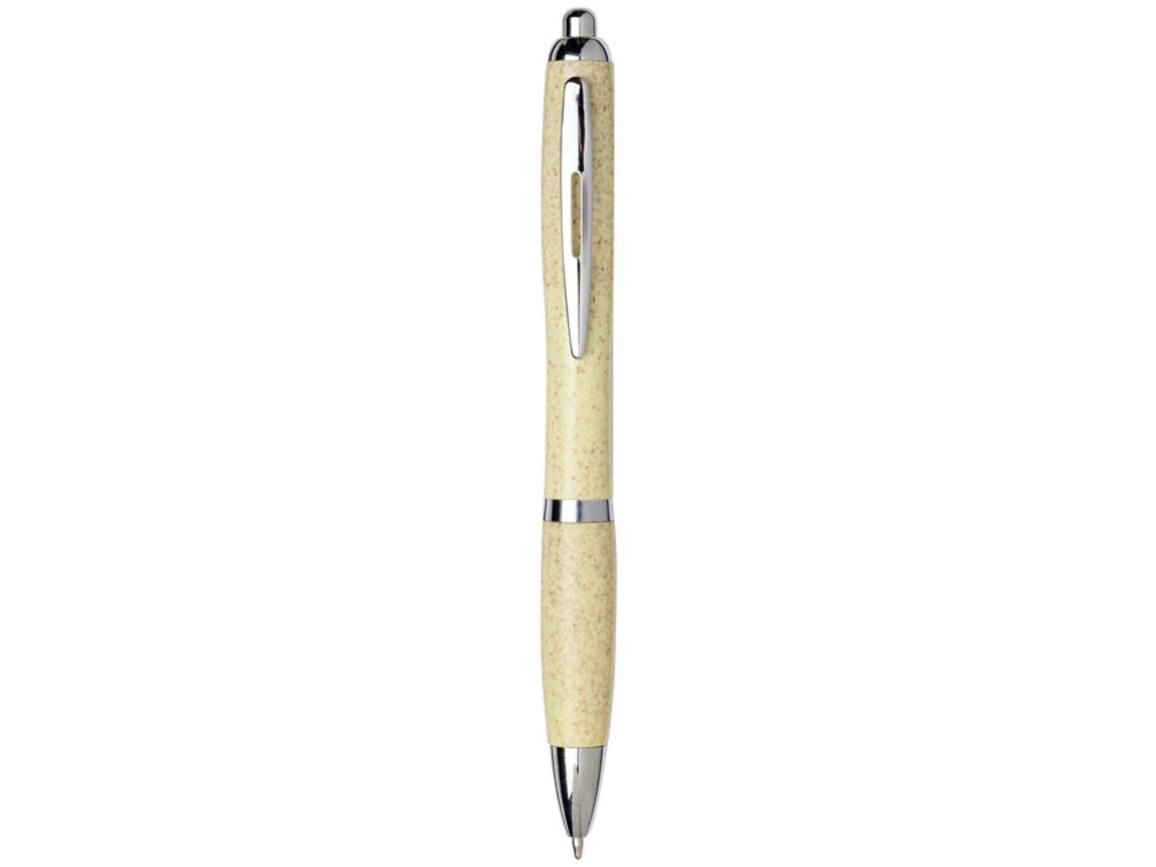Nash Kugelschreiber aus Weizenstroh mit Chromspitze, gelb bedrucken, Art.-Nr. 10737905