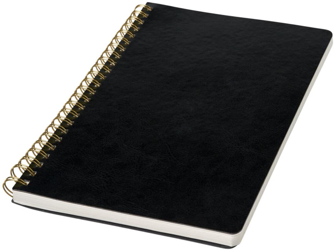 Spiraly A5 Lederlook Notizbuch, schwarz bedrucken, Art.-Nr. 10739700