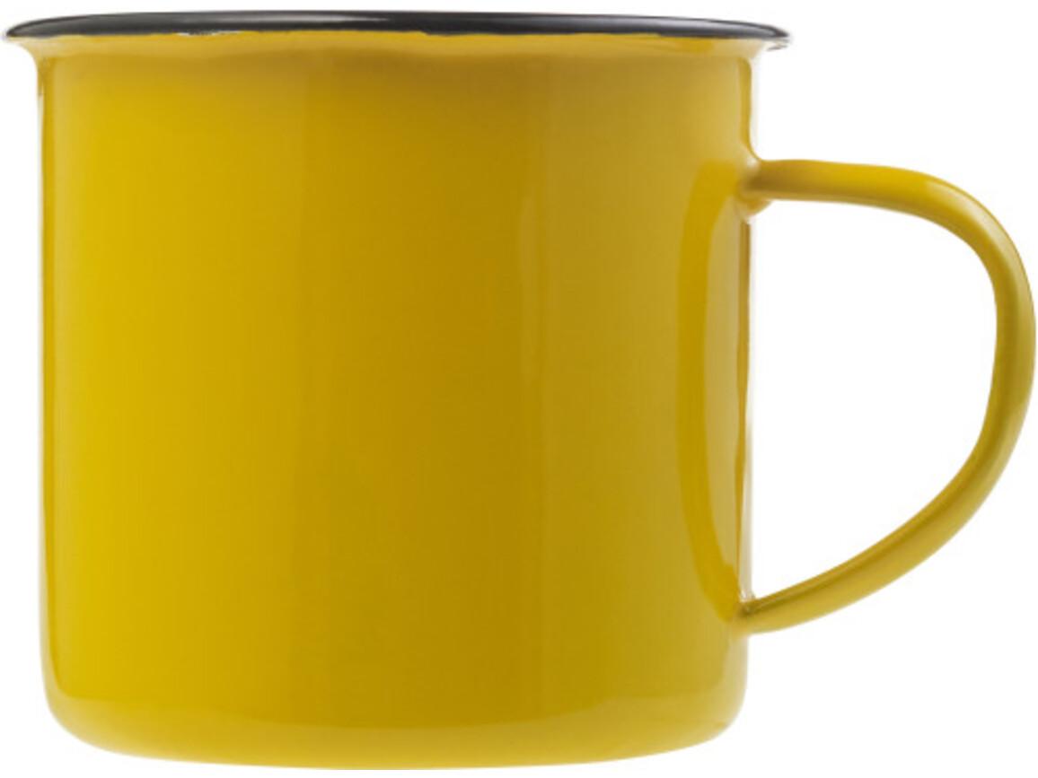 Emaille-Becher 'Wild' aus Metall – Gelb bedrucken, Art.-Nr. 006999999_8537