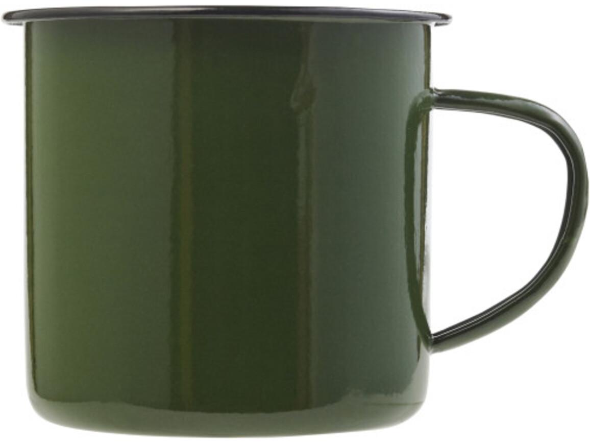 Emaille-Becher 'Wild' aus Metall – Grün bedrucken, Art.-Nr. 004999999_8537