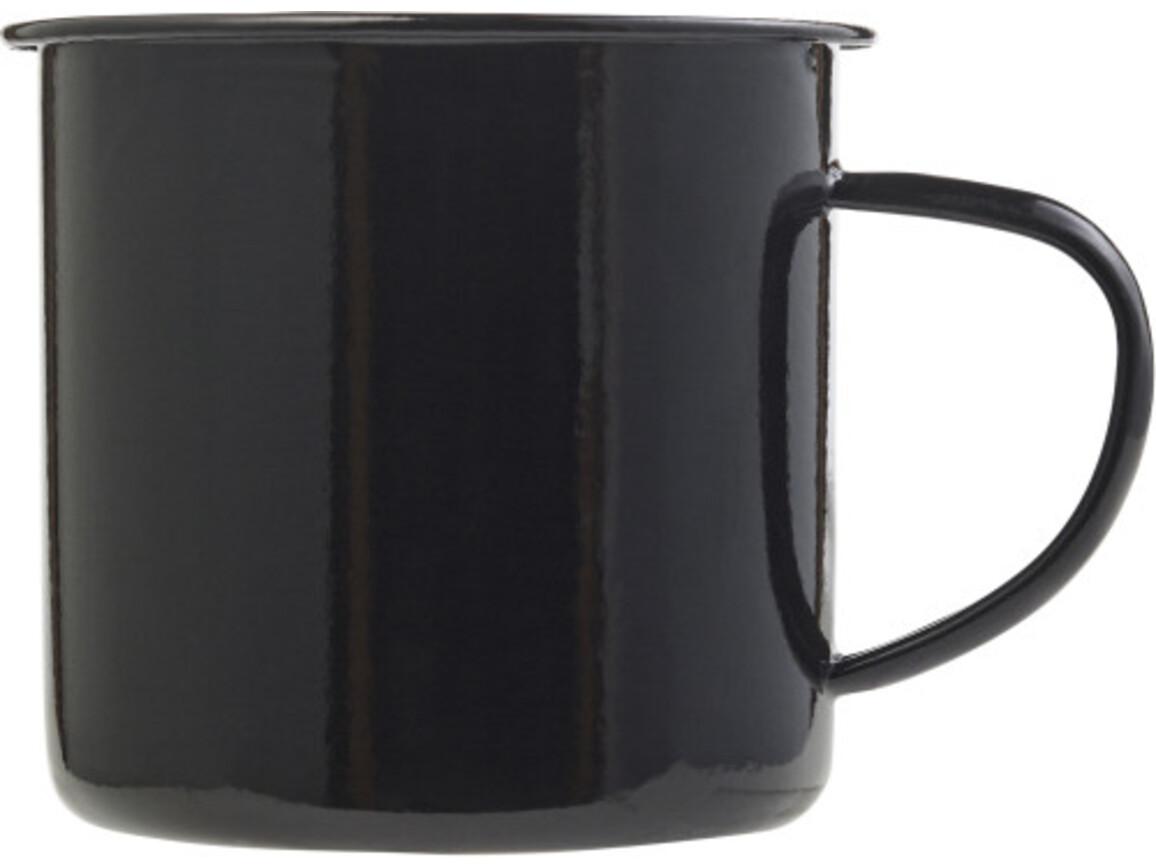 Emaille-Becher 'Wild' aus Metall – Schwarz bedrucken, Art.-Nr. 001999999_8537