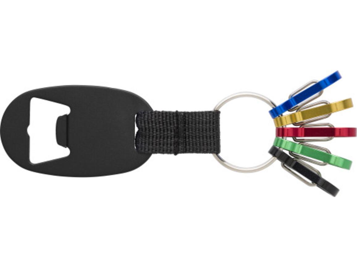2-in-1 Schlüsselanhänger 'Usedom' aus Aluminium – Schwarz bedrucken, Art.-Nr. 001999999_8586