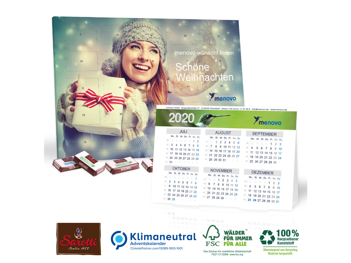 """""""2 in 1"""" Adventskalender mit Jahresplaner , Klimaneutral, FSC®-zertifiziert bedrucken, Art.-Nr. 95333"""