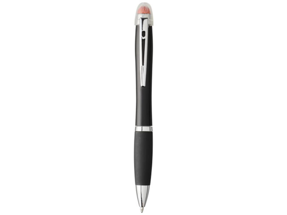 Nash beleuchteter Kugelschreiber mit schwarzem Schaft und Griff, orange bedrucken, Art.-Nr. 10743003