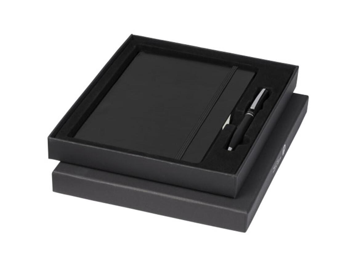 Falsetto A5 Notizbuch und Stift Geschenkset, schwarz bedrucken, Art.-Nr. 10741100