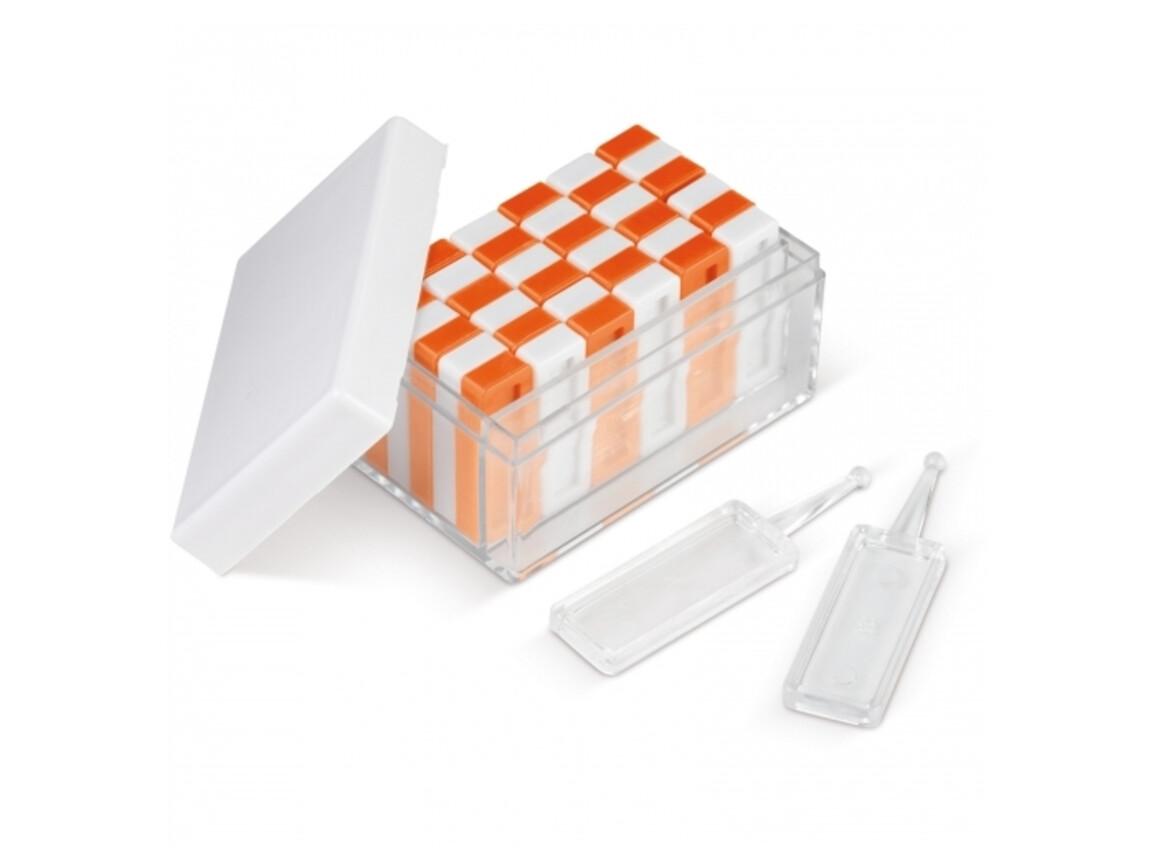 Turm & Domino-Spiel 36-teilig - Weiss / Orange bedrucken, Art.-Nr. LT90773-N0126