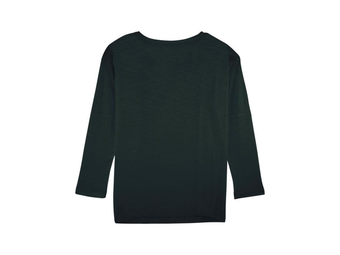 Damen Langärmeliges T-Shirt aus geflammtem Garn mit überschnittenen Ärmelansätzen - Black - S bedrucken, Art.-Nr. STTW033C0021S