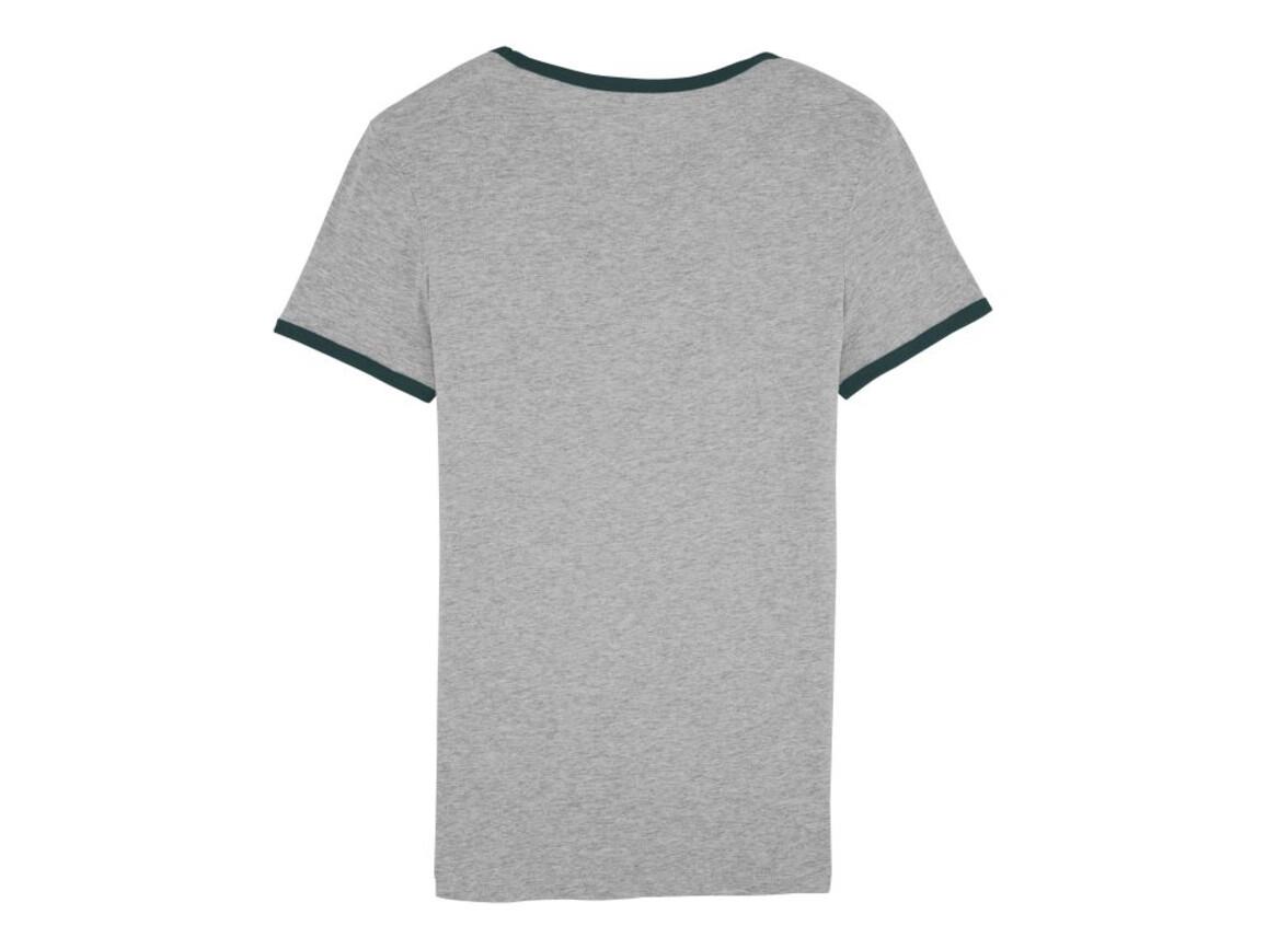 Damen T-Shirt mit Kontrastkanten - Heather Grey/French Navy - L bedrucken, Art.-Nr. STTW061C9851L