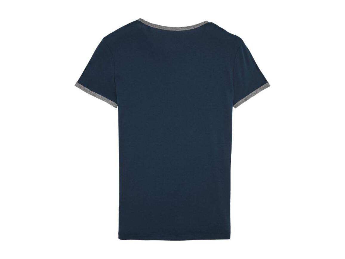 Damen T-Shirt mit Kontrastkanten - Navy/Mid Heather Grey - L bedrucken, Art.-Nr. STTW061C8501L