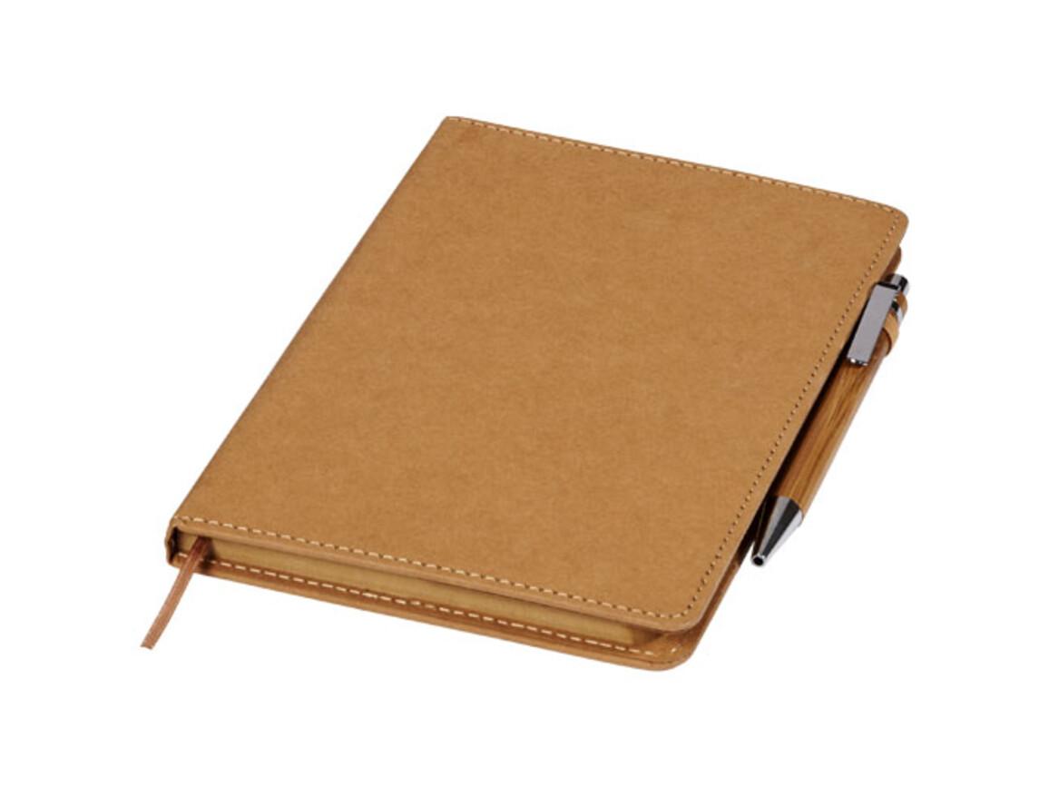 Celuk Kugelschreiber- und Notizbuch-Set, braun bedrucken, Art.-Nr. 10740600