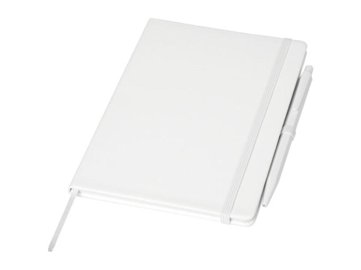 Prime mittelgroßes Notizbuch mit Stift, weiss bedrucken, Art.-Nr. 10741501