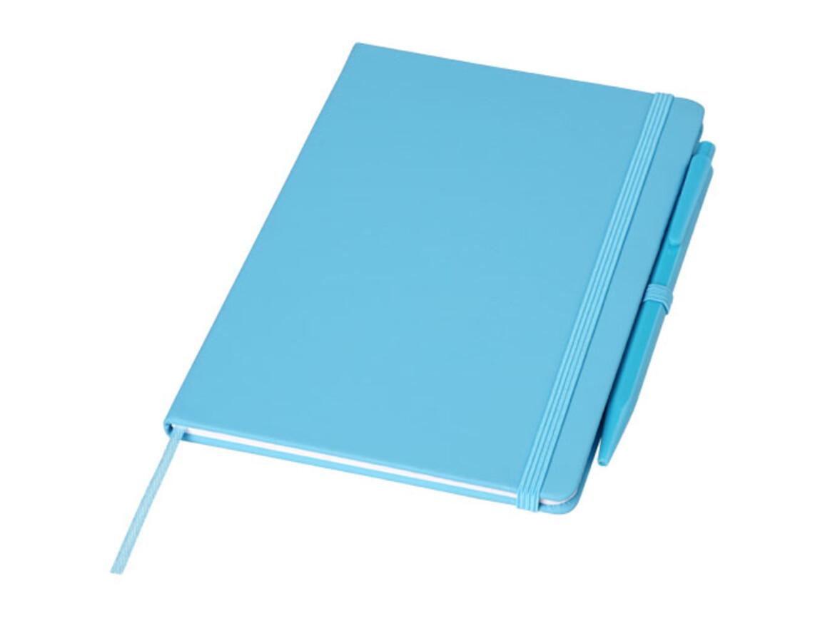 Prime mittelgroßes Notizbuch mit Stift, aquablau bedrucken, Art.-Nr. 10741502