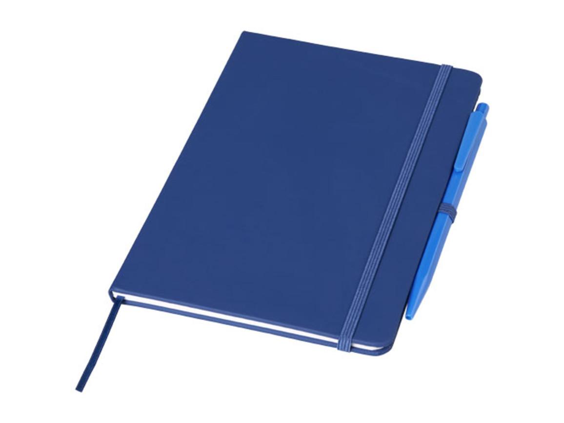 Prime mittelgroßes Notizbuch mit Stift, royalblau bedrucken, Art.-Nr. 10741503