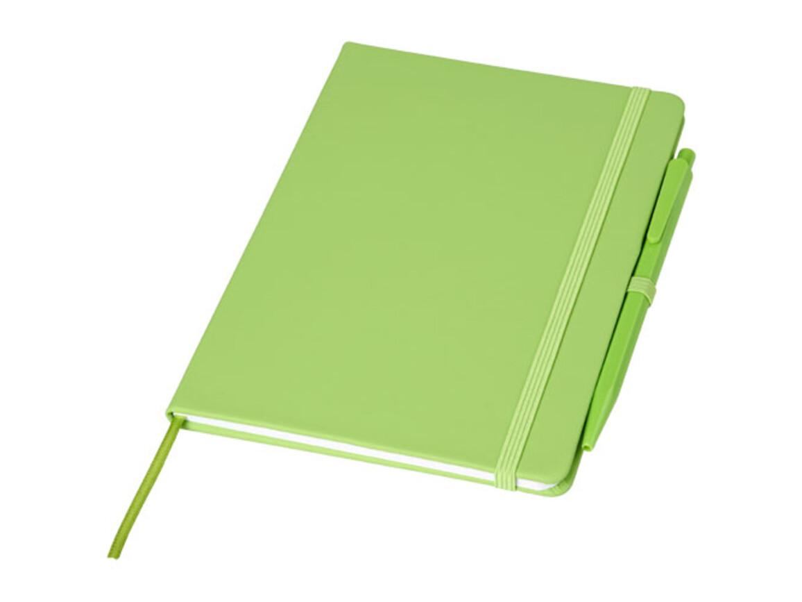 Prime mittelgroßes Notizbuch mit Stift, limone bedrucken, Art.-Nr. 10741506