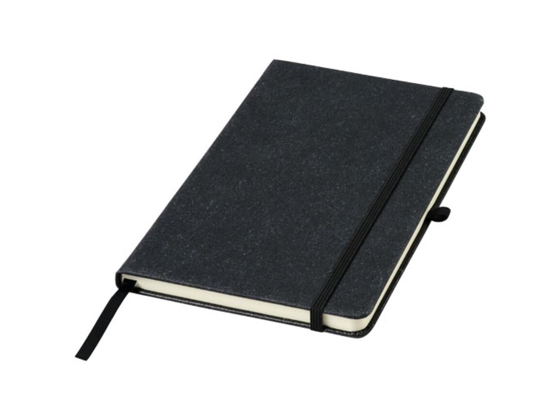 Atlanta A5 Notizbuch aus Lederresten, schwarz bedrucken, Art.-Nr. 10757500