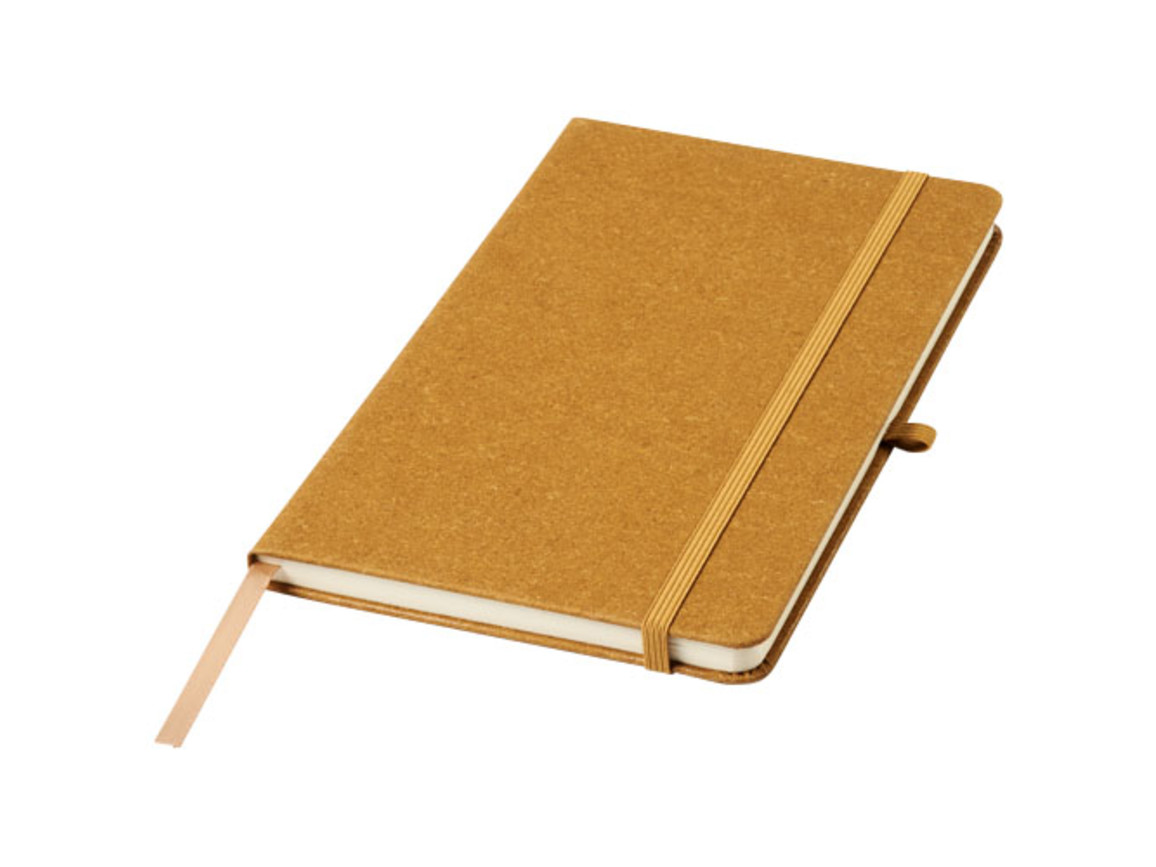 Atlanta A5 Notizbuch aus Lederresten, braun bedrucken, Art.-Nr. 10757516