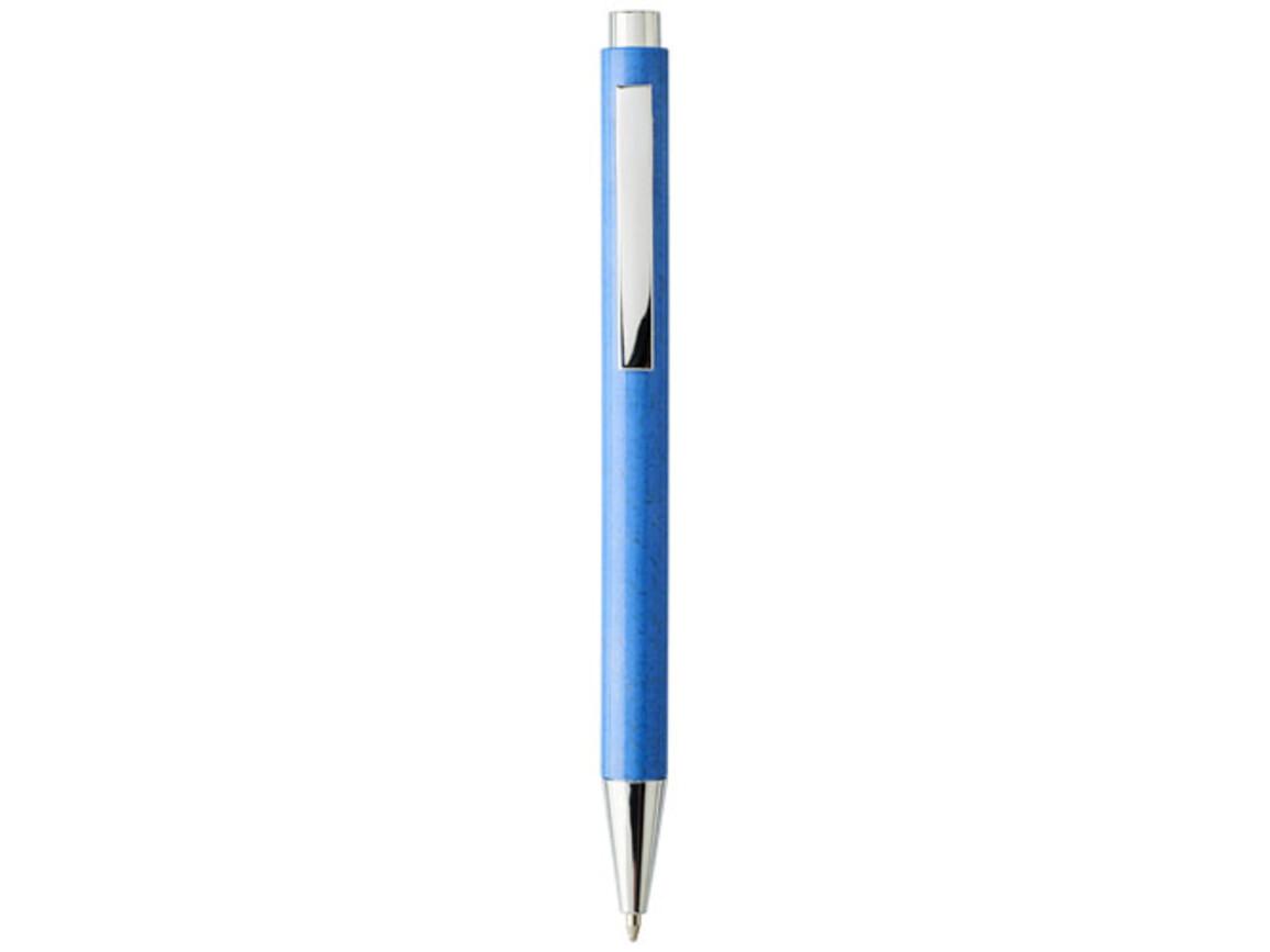 Tual Druckkugelschreiber aus Weizenstroh, blau bedrucken, Art.-Nr. 10758101