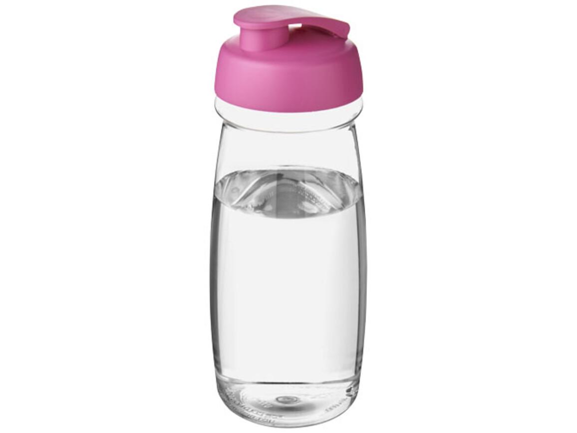 H2O Pulse® 600 ml Sportflasche mit Klappdeckel, transparent, rosa bedrucken, Art.-Nr. 21005422