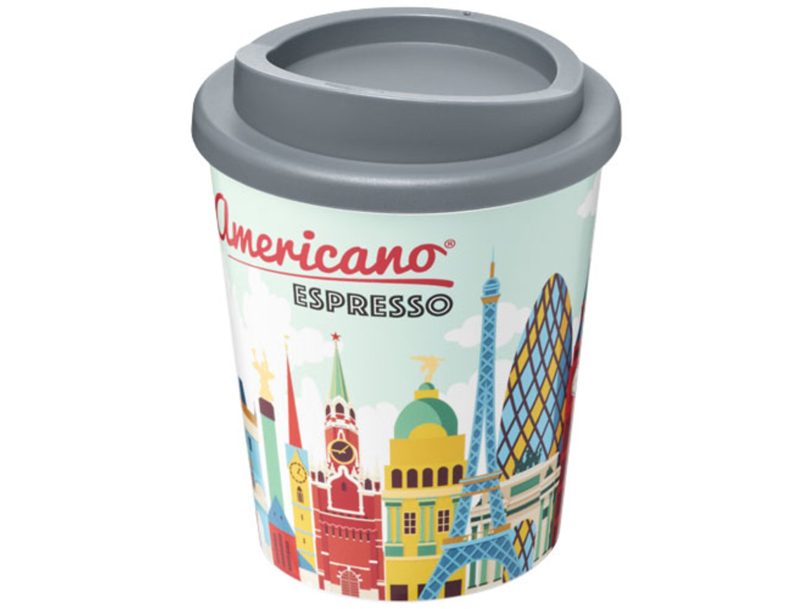 Brite-Americano® Espresso 250 ml Isolierbecher, grau bedrucken, Art.-Nr. 21009112