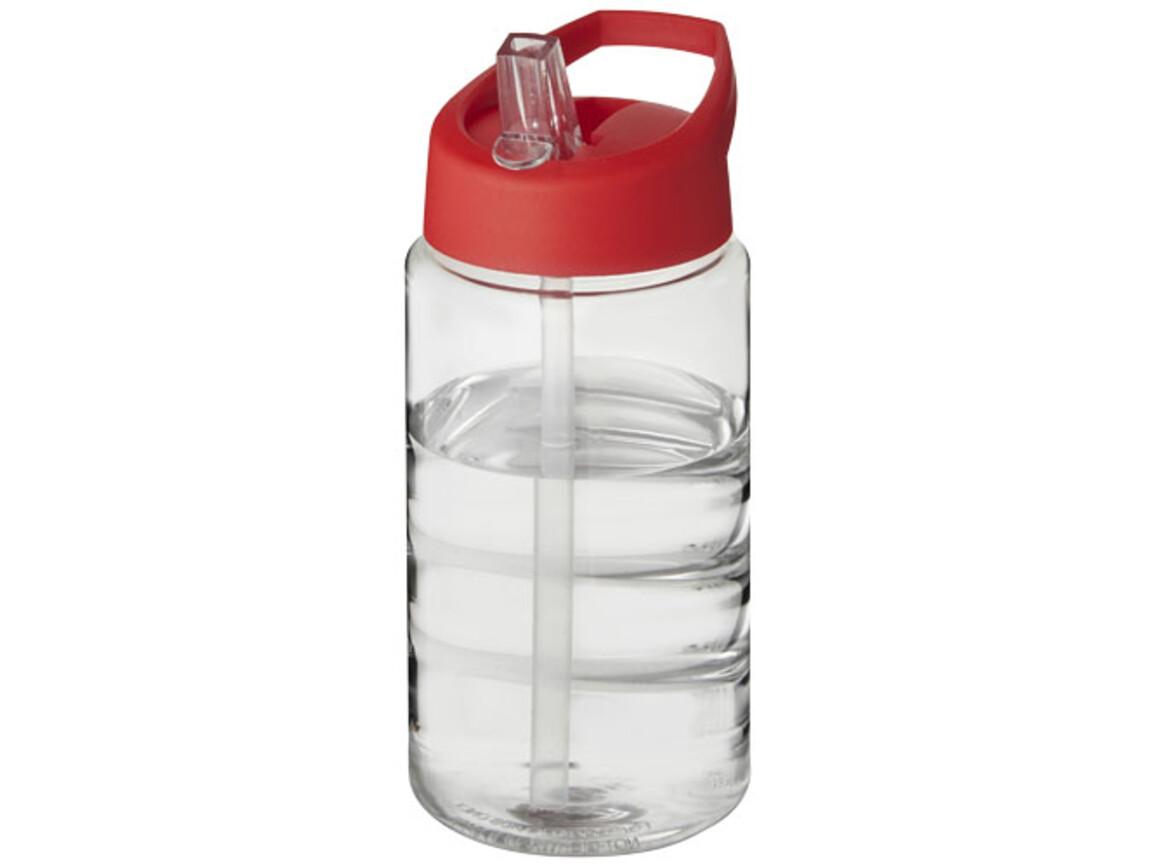 H2O Bop 500 ml Sportflasche mit Ausgussdeckel, transparent,rot bedrucken, Art.-Nr. 21088310