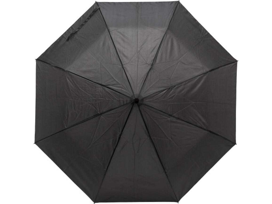Regenschirm 'Lauren' aus Pongee-Seide – Schwarz bedrucken, Art.-Nr. 001999999_9258