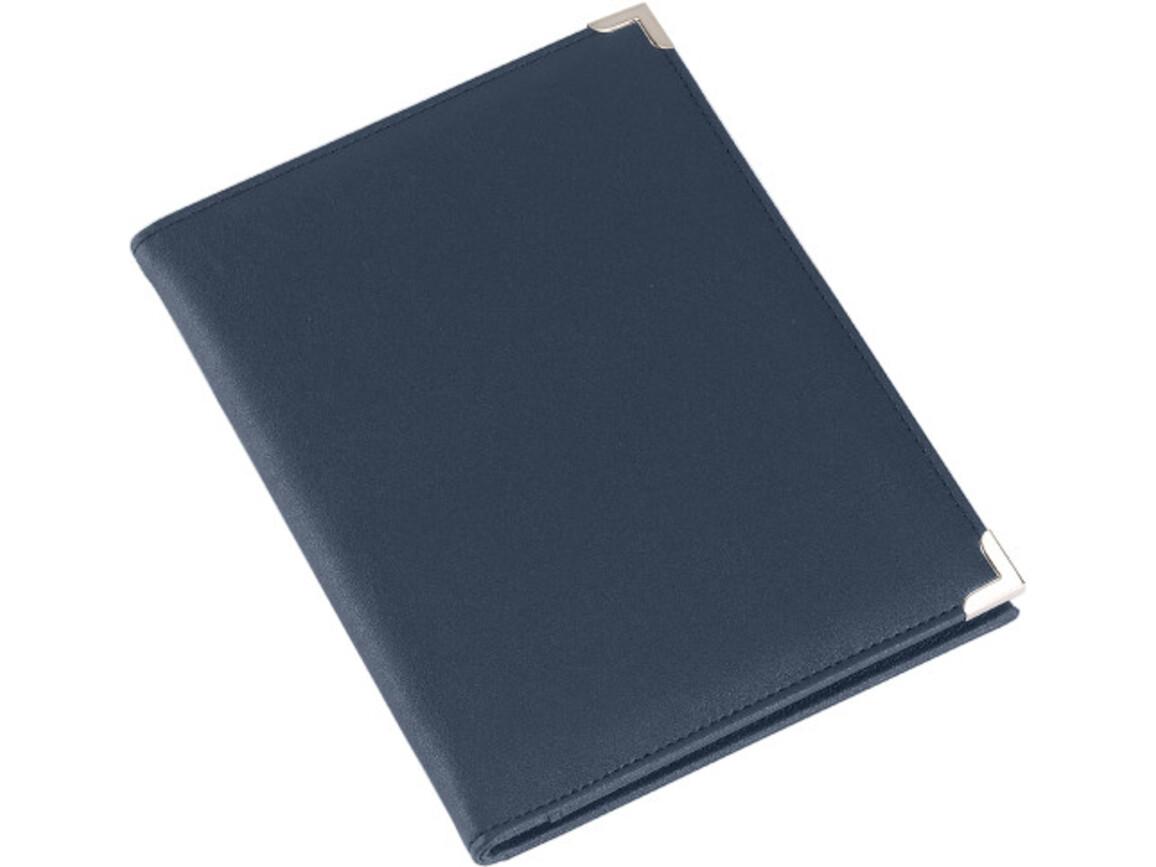 Konferenzmappe 'Oxford' aus PU mit Metallecken – Blau bedrucken, Art.-Nr. 005999999_8622