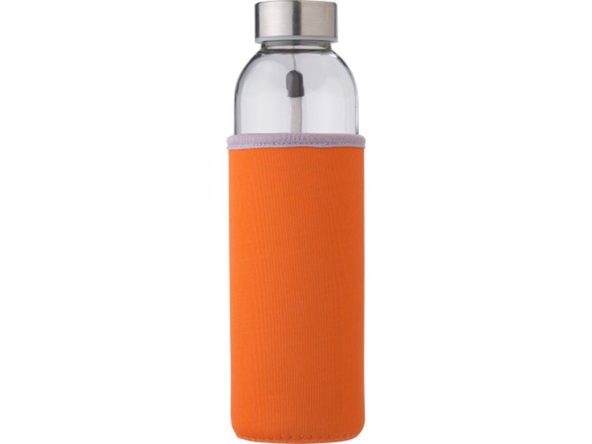 """Glasflasche """"Neo"""" (500ml) mit einem Neoprenhülle – Orange bedrucken, Art.-Nr. 007999999_9301"""