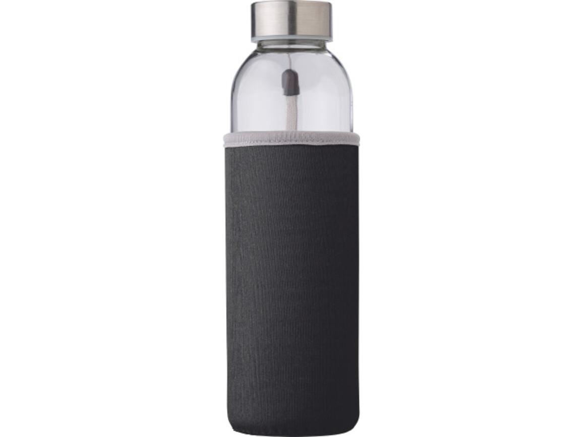 """Glasflasche """"Neo"""" (500ml) mit einem Neoprenhülle – Schwarz bedrucken, Art.-Nr. 001999999_9301"""