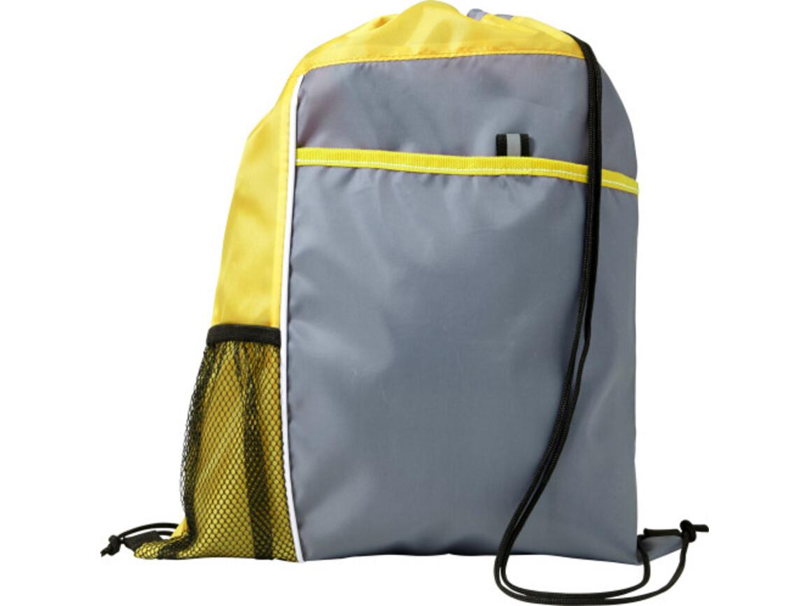 Schuh-/Rucksack (Turnbeutel) 'Mondo' aus Polyester – Gelb bedrucken, Art.-Nr. 006999999_7637